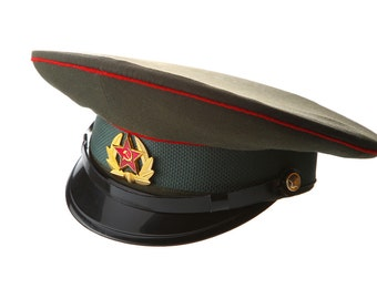 Russian / USSR Army Military Hat / Officer's Cap + Soviet Red Star Badge Sizes XS,L