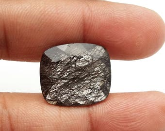 Natural BLACK RUTILATED QUARTZ  faceted cabochon,faceted cushion shaped cabochon , 17.5x20 mm ,1 piece, 20 ct. Approx[E0940] black rutilated
