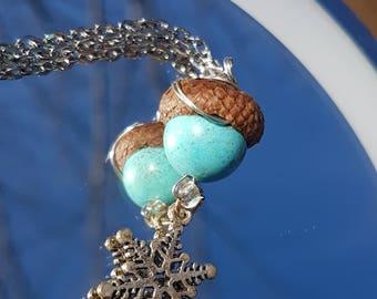 Blue Stone Acorn Necklace