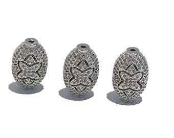 CZ Micro Pave Beads, CZ Pave Beads, Jewelry Findings, Jewelry Making, Jewelry Supplies, Micro Pave Beads, Pave Beads, Oval Beads, 1 Piece