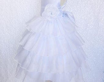 Organza Ruffle Dress w/ White Satin Sash Flower Girl Gown Wedding Bridesmaid Elegant Communion Junior Recital Easter Graduation Spring Prop