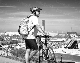 Street photography, Black & White Fine art print, cyclist looking out to sea, leaning on bike, English promenade, wall decor, urban print