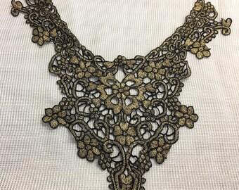 Metallic gold black embroidered neck trim applique