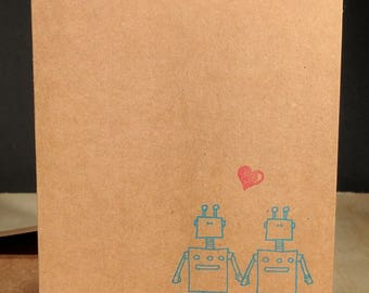 He loves Him! - Robot Love single card - A2 - Blank card