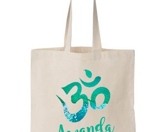 Om Tote Happy Yoga Bag Namaste Market Bag Yoga Tote Bag Om Tote bag Yoga Bags Eco Cotton Canvas Bag  Meditation Tote Bag Bags & Purses