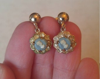 Vintage Coro Cameo Earrings
