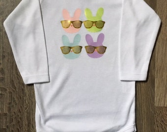 Cool Bunny Bunnies with Glasses for Easter baby Bodysuit and toddler tee with Gold Foil Glasses