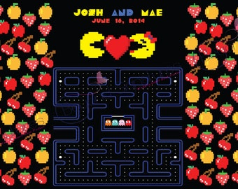 Geeky PacMan Wedding Guestbook Alternative, Custom Digital Signing Poster