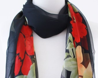 Soft Elegant Long Wrap Scarves / Black and Red / Floral / Spring Summer Scarf / Women Scarves / Accessories / Handmade