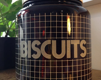 1970's Biltons CLP Biscuits brown glass container and lid