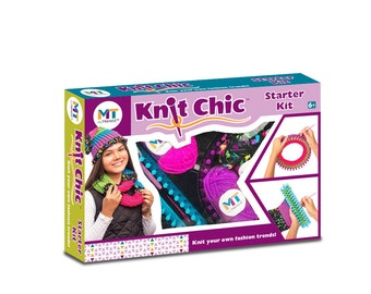 My Trendz Knit Chic Starter Children's Knitting Kit - Create Your Own Fashion Trends PERFECT FOR BEGINNERS learning to knit loom hoop yarn