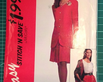 Vintage Uncut Sewing Pattern - McCall's 6091 Misses' unlined jacket, top, and skirt