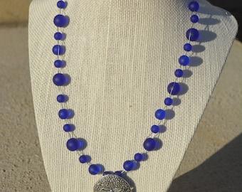 Blue Sea Glass Necklace Sand Dollar