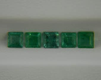1.70ct 5pcs. Lot of Natural Emerald 4x4 mm Square Cut from Zambia Loose Gemstone Emerald Ring Pendant Earrings for Jewelry 100% Natural