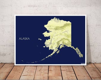 Alaska topography map, printed in high resolution, available in ultraHD quality, range of colors to choose from, map decor, Anchorage