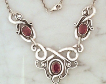 "Silver necklace with Garnet ""Air Dragon 3"""
