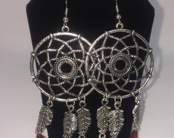 Antique Silver Dream Catcher earrings
