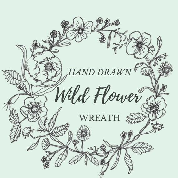 Christmas Flower Line Drawing : Hand drawn wild flower wreath line drawing flowers plants