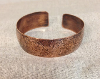 Copper Cuff Bracelet // Beautiful Leaf Texture // Domed Shape