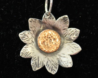 Sunflower Pendant Necklace // Sterling Silver with Hammer Texture and Dimension // Textured Copper
