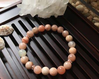 8mm Sunstone Yoga Mala Beaded Bracelet. Healing Natural Gemstone Bracelet. Lucky Bracelet. Stretch Bracelet. Wrist Mala. Good Fortune Mala.