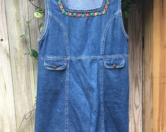 Vintage Women's Jean Dress with Floral Trim
