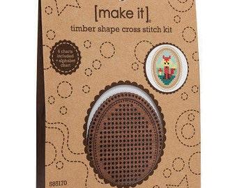 Cross stitch timber kit, Timber Shape Cross Stitch Kit, cross stitch kit - Oval