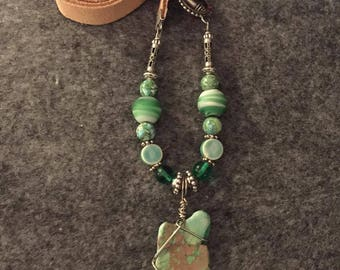 Stunning, Beach-y, Boho-Chic Beaded Green Jasper Necklace 23""