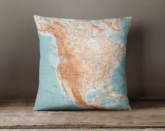 Map Pillow, US Map Pillow Cover, Map Throw Pillow, Map Cushion, Decorative Pillow, Wanderlust Pillow, Graduation Gift, Nursery Pillow