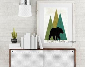 Woodland Bear art print.  Bear poster Black Bear home decor.  Bear wall art. Lodge decor. Camping art. Gift for camper.  Outdoor art.
