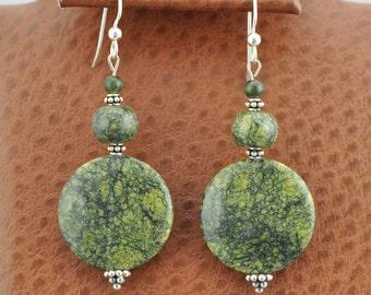 Russian Serpentine Sterling Silver dangle Earrings