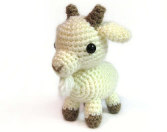 Crochet Amigurumi Cute White Billy Goat Stuffed Animal Plush Toy Handmade