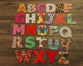 fabric sewn alphabet letters, 100% cotton fabric&batting, learning tool, baby gift, kids, children, birthdays, presents