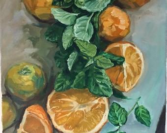 Fruits of Labor   Original Still Life Oil Painting 15inX27in