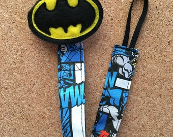 Pacifier Clip, Batman, Chewy Tube Holder, Binky Clip, Binky Holder, Felt Pacifier Baby Shower Gift, Autism Awareness, Fabric