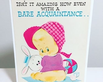 handmade greeting card // vintage // upcycled // 1960s // unique // baby girl // baby bottom // love at first sight // new baby // congrats