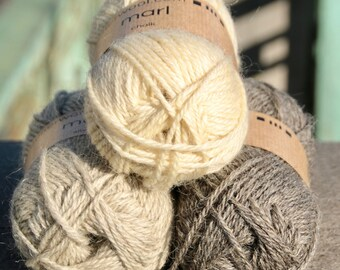 Marl local and eco-friendly aran size worsted yarn from Belgium for knitting and crochet undyed