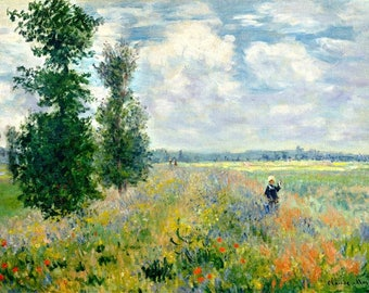 Monet Oil Painting-Poppy Field, Argenteuil-Museum Quality Reproduction