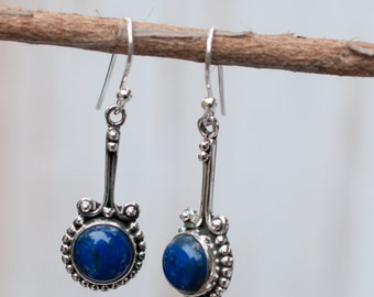 Lapis Lazuli Earrings ~ Sterling Silver 925 ~ Gemstone ~ Dangle~ Handmade ~Jewelry ~ Gift For Her ~Blue ~ Gift for her ~ Maresia ME001