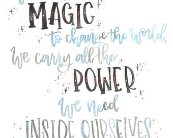 Harry Potter: Power Within Ourselves Watercolor Hand Lettered Print