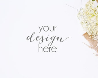 White Rustic Floral Styled Stock Photography / Product Mockup / Styled Photo / Blog / Website / Sassaby Studios / Wedding Mockup #9269