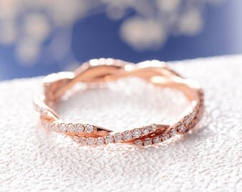 Infinity Rose Gold Diamond Wedding Band Unique Stacking Eternity Ring Women Bridal Set Cross Twist Rope Anniversary Gift Dainty Everyday