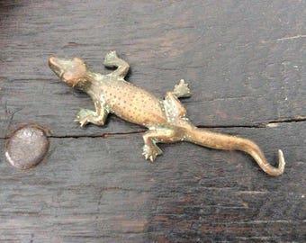 Antique Bronze Lizard Sculpture / Miniature Reptile