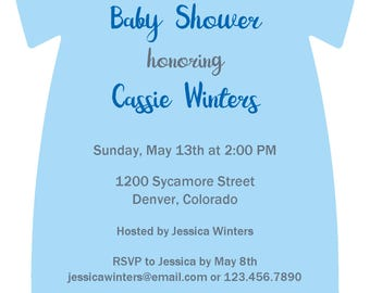 Blue Onesie Baby Shower Digital Download