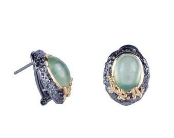 Jade earrings silver earrings stud earrings vintage earrings round earrings circle earrings drop earrings gemstone earrings gypsy earrings