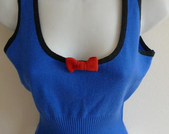 Lolita Lempicka bright blue knit top with black edging and cute little bows
