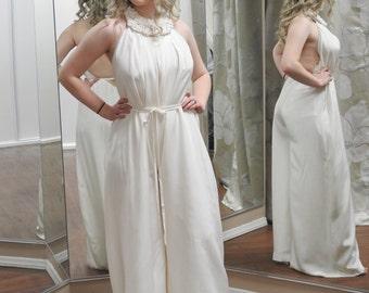 Ivory Floor-Length Jumpsuit / Ivory Silk Jumpsuit ONE OF A KIND / Size Adjustable