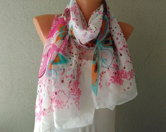 pink scarf shawl floral scarf crochet scarf unique scarves womens scarves womens accessories gift for her gift for wife mom bestfriend