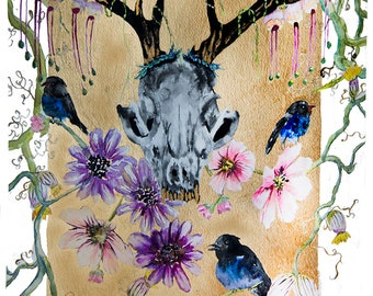 Fox Skull with Flowers and Birds