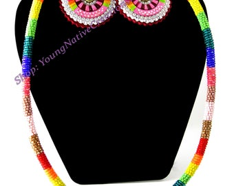 Quilled Earring and Beaded Rope Set